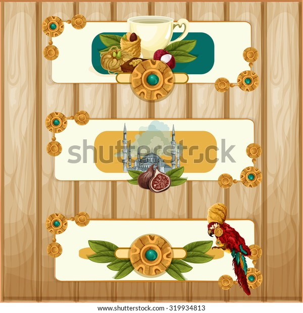 Vector oriental sweets banners