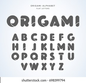 Vector origami alphabet. Flat letters collection