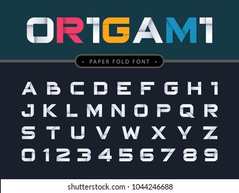 Vector of Origami Alphabet Letters and numbers, Modern white Paper fold stylized fonts, Minimal Letters set for decoration, funny, cute, paper craft, design