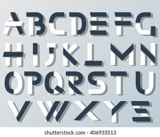 VECTOR ORIGAMI ALPHABET STYLE WITH SHADOWS BLUE AND WHITE