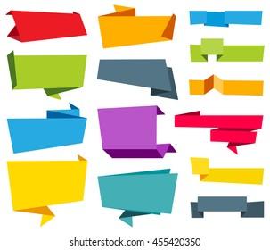 Vector Origami Banner Label Ribbon
