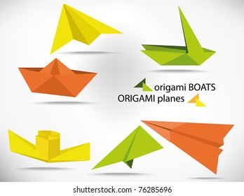 vector origami boats and planes