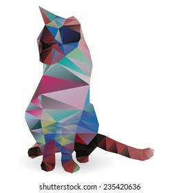 Vector origami cat triangle style isolated