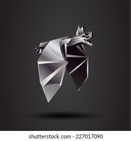 vector origami chrome bat