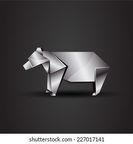 vector origami chrome bear