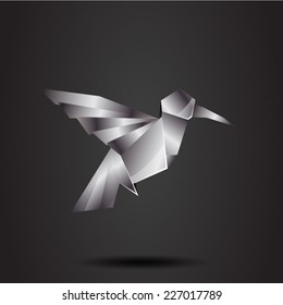 vector origami chrome colibri