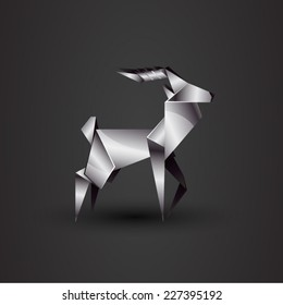 vector origami chrome deer