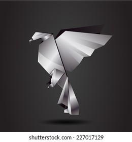 vector origami chrome eagle