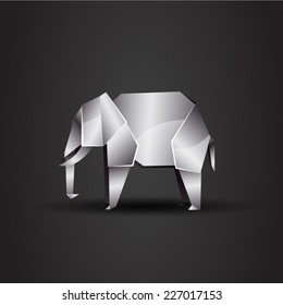 vector origami chrome elephant