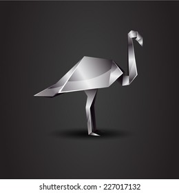vector origami chrome flamingo