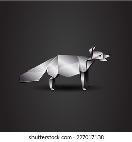vector origami chrome fox