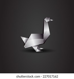 vector origami chrome goose