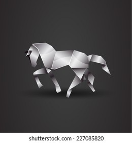 vector origami chrome horse