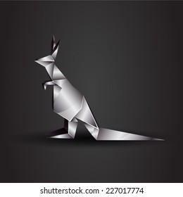 vector origami chrome kangaroo