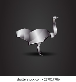 vector origami chrome ostrich