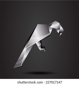 vector origami chrome parrot