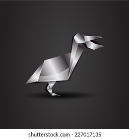 vector origami chrome pelican
