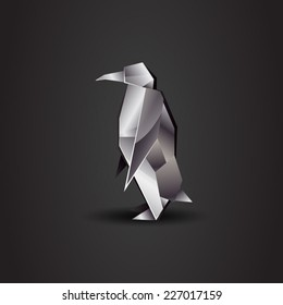 vector origami chrome penguin
