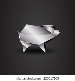 vector origami chrome pig