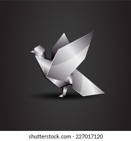 vector origami chrome pigeon