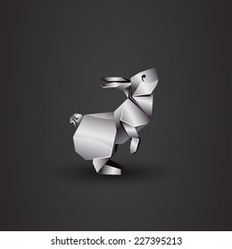 vector origami chrome rabbit