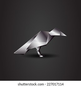 vector origami chrome raven