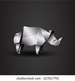 vector origami chrome rhino