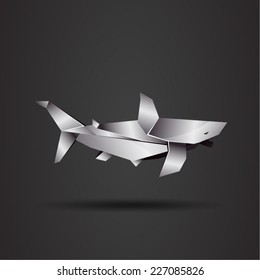 vector origami chrome shark