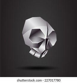 vector origami chrome skull