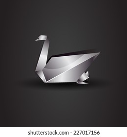 vector origami chrome swan