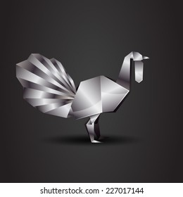 vector origami chrome turkey