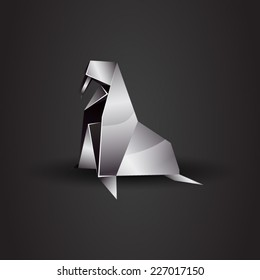 vector origami chrome walrus
