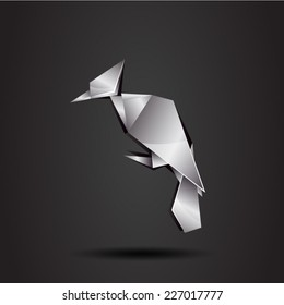 vector origami chrome woodpecker