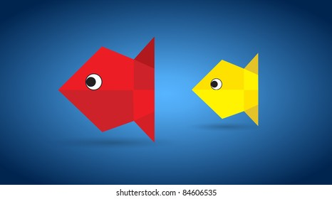Vector origami couple fishes