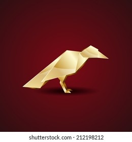 vector origami golden crow