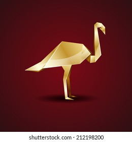 vector origami golden flamingo