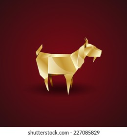 vector origami golden goat