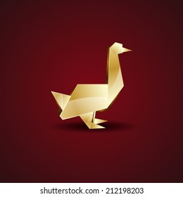 vector origami golden goose