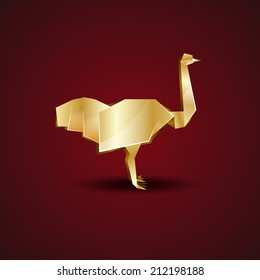 vector origami golden ostrich