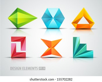Vector origami icons. Design elements. Diamond. Abstract logo icons
