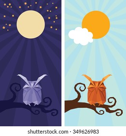 Vector origami isolated animal. Cute triangle sleeping Owl with sun,  stars and moon on night and day sky