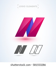 Vector origami letter N logo. Can be used as an app icon and company corporate identity.