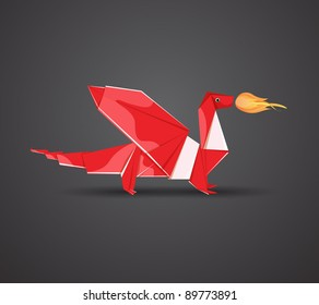 Vector Origami Red Dragon