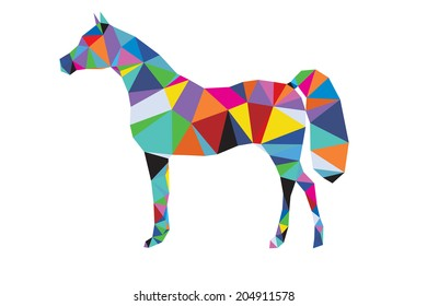 Vector origami silhouette of horse from big set of animals