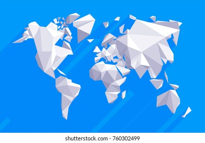 Vector origami world with flat shadows. Triangle-world Map illustration. Low poly design.