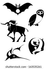 Vector original art animal silhouettes collection for design