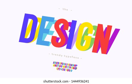 Vector original design font slanted style for banner, infographics, motion graphic, party poster, kids book, t shirt, flyer, decoration, printing on fabric, industrial. Cool typeface. Trendy alphabet