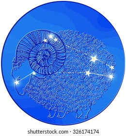 vector original image zodiac signs Aries,
