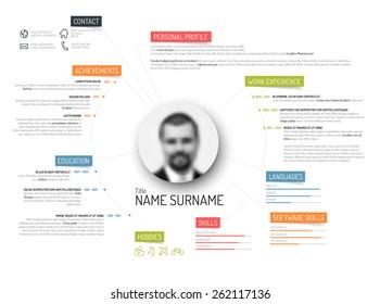 Vector original minimalist cv / resume template - creative version with colorful headings
