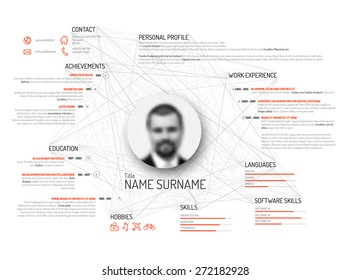 Vector original minimalist cv / resume template - light black and white version with red color